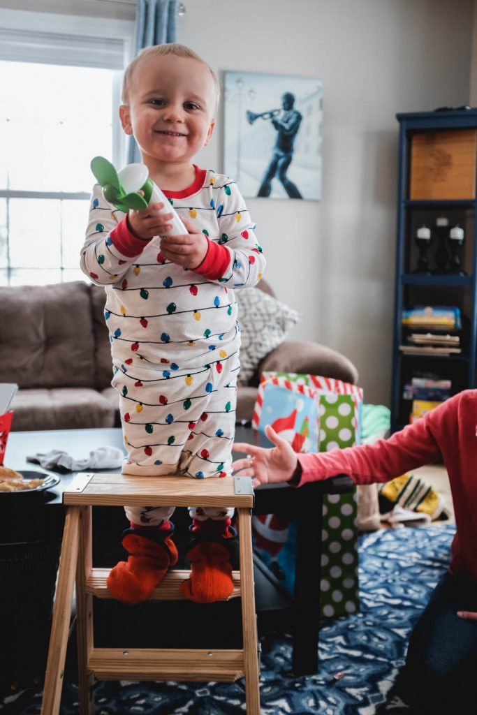 toddler excited about getting a ladder for Christmas