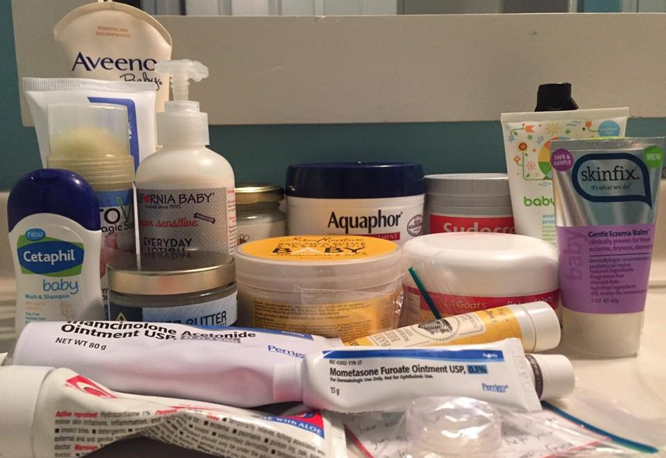 Food Allergies and Eczema: Collection of lotions to help with eczema