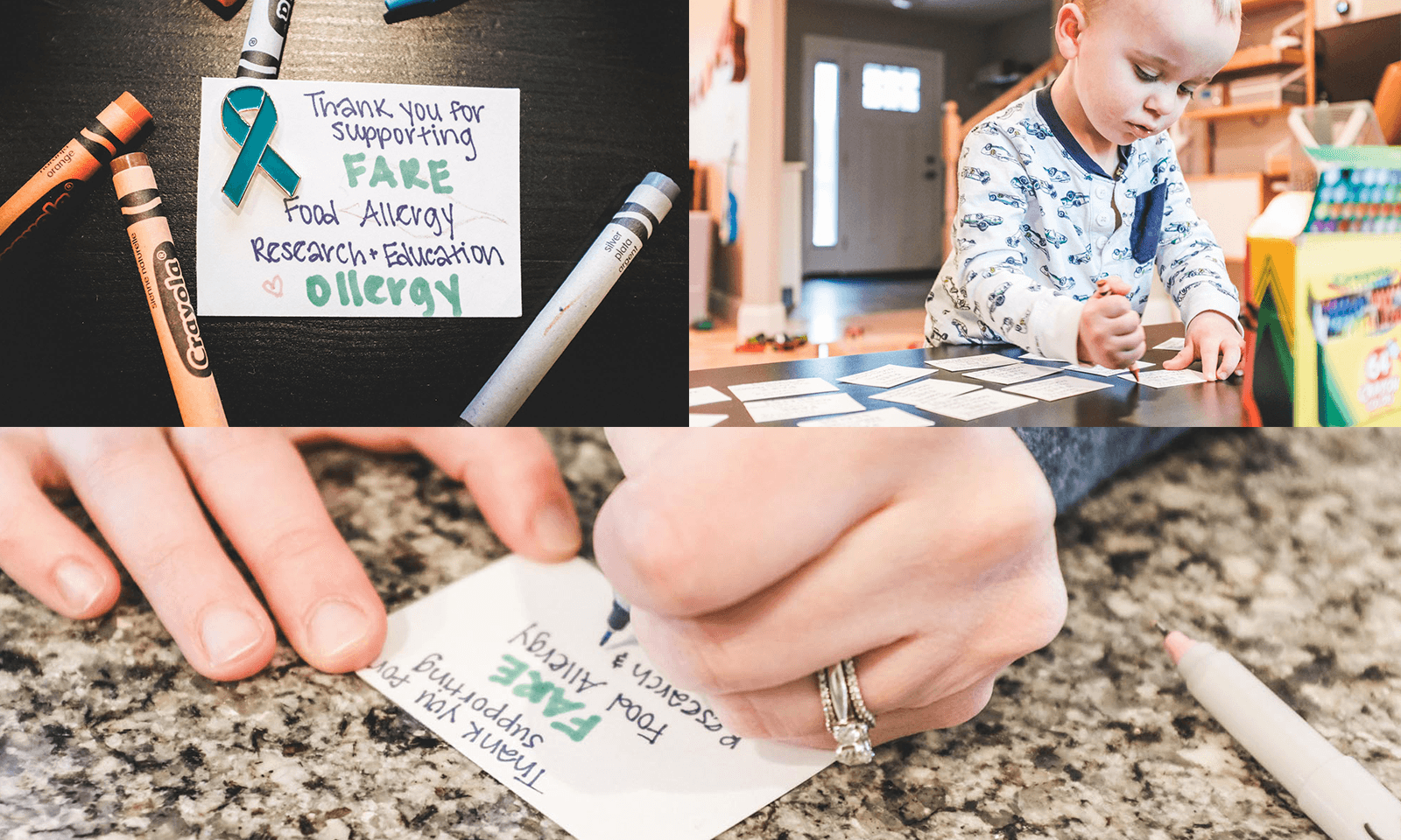 mom and toddler make pins to support FARE's food allergy heroes walk
