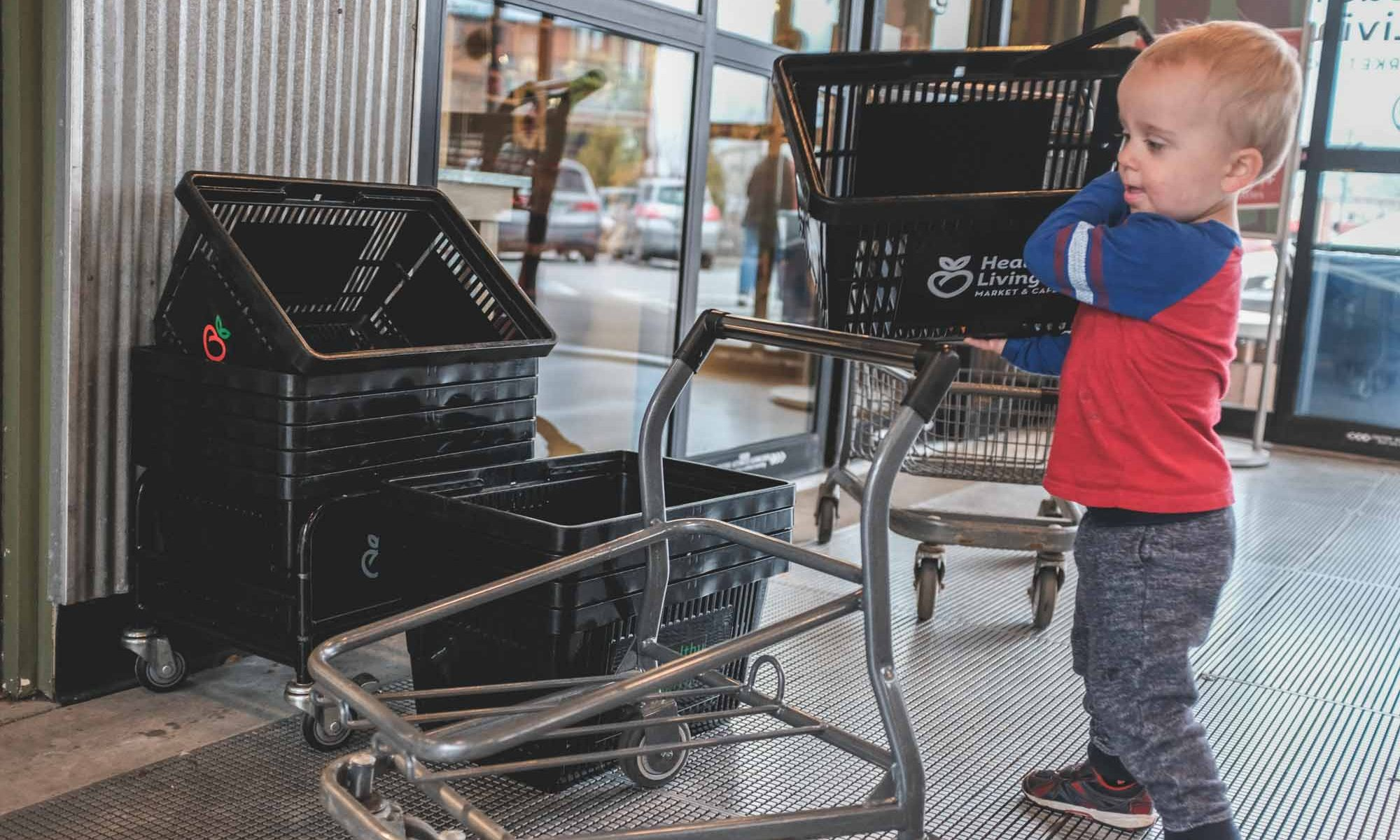 Toddler who loves the little carts at Healthy Living
