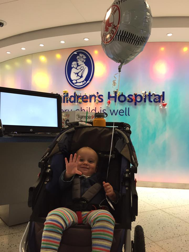 toddler happy to be leaving hospital after a baked milk food challenge