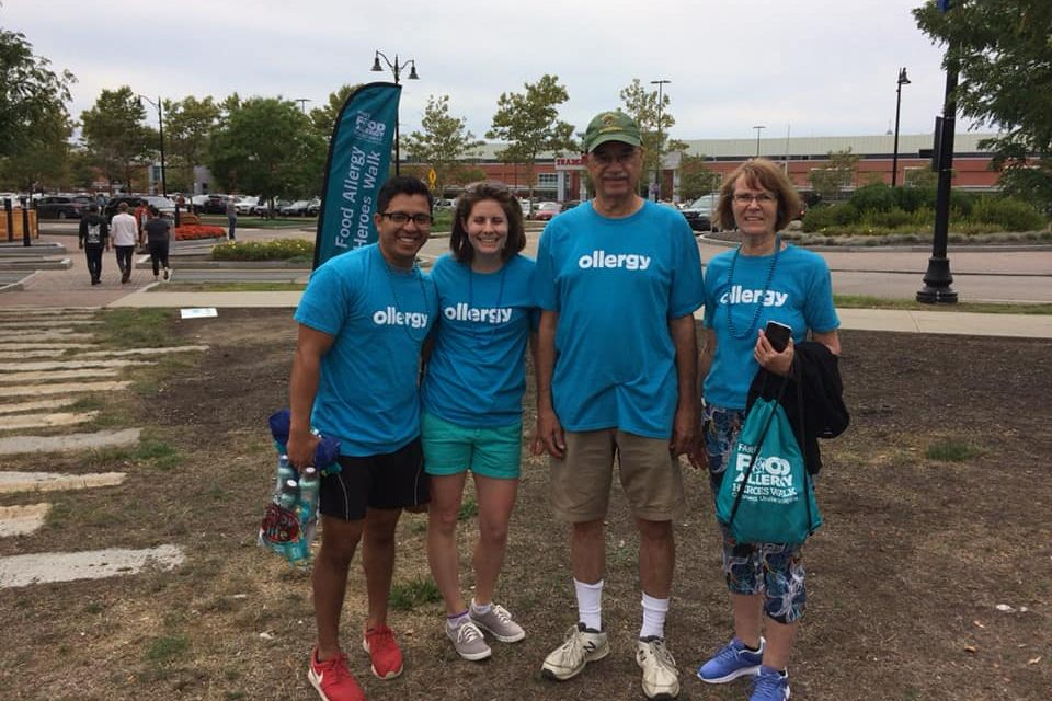 family and friends supporting team ollergy at the food allergy heroes walk for our current cause